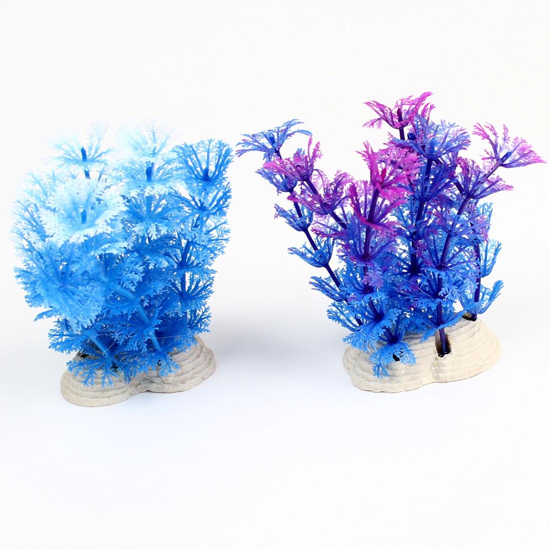 2Pcs Aquarium Fishbowl Ornament Purple Blue White Plastic Underwater Plant 12cm Height