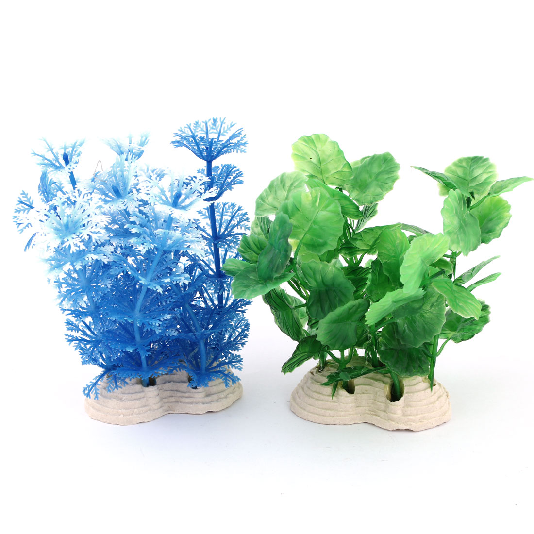 Aquarium Fishtank Decor Ceramic Base White Green Blue Underwater Plant 12cm 2Pcs