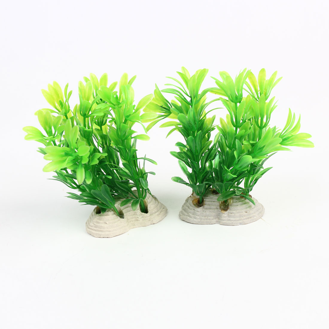 Aquarium Fishbowl Ornament Green Leavea Plastic Underwater Plant 12cm 2Pcs