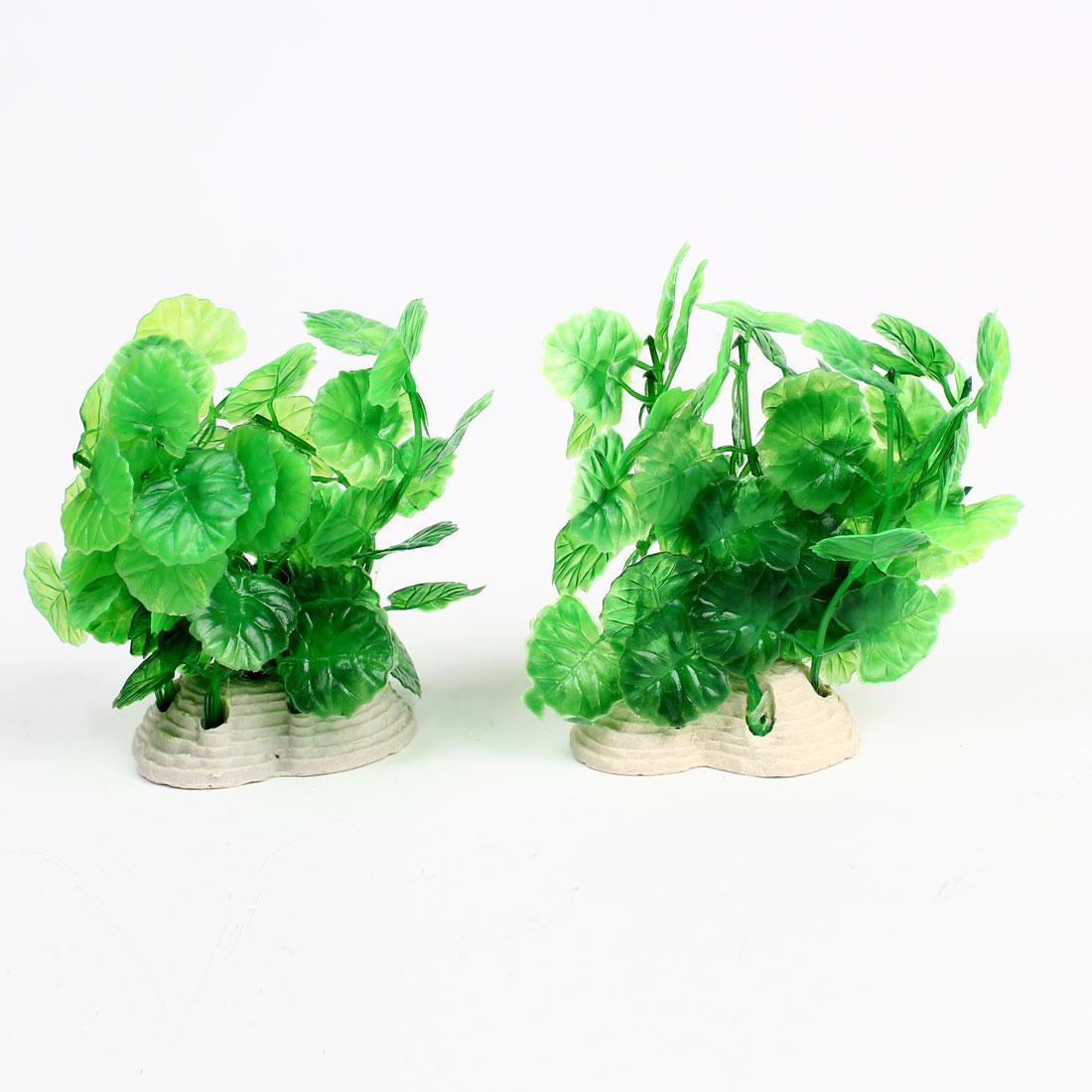 Aquarium Fishtank Ceramic Base Green Leaf Underwater Plant 12cm 2Pcs