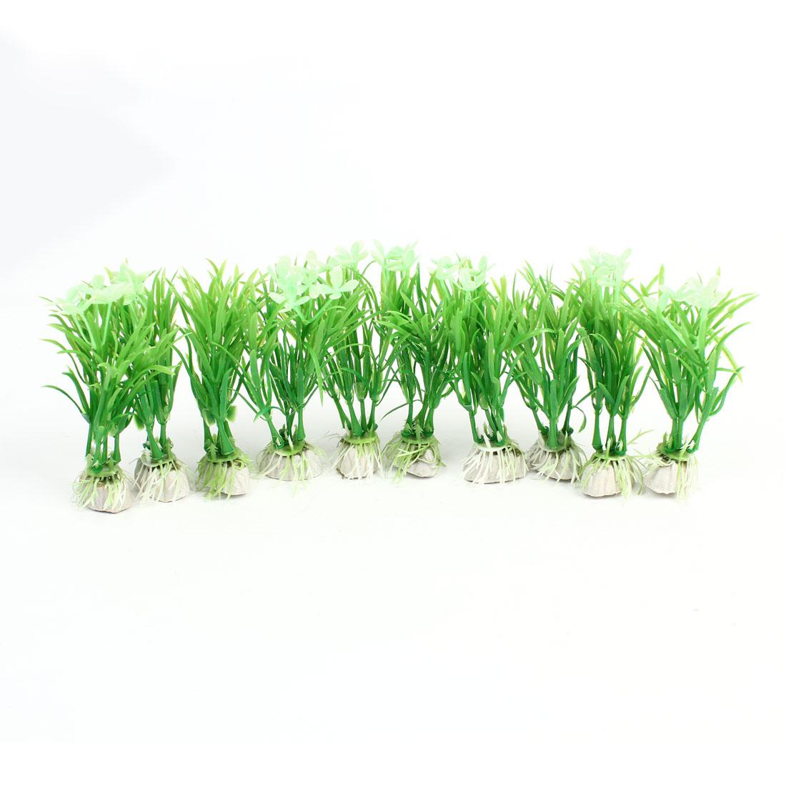 """10Pcs Aquarium Aquascaping Aquatic Plastic Plants Decor Green 4.3"""""""