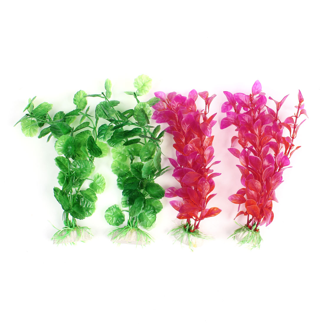 4Pcs Aquarium Fishtank Ceramic Base Multicolor Leaves Underwater Plant 20cm