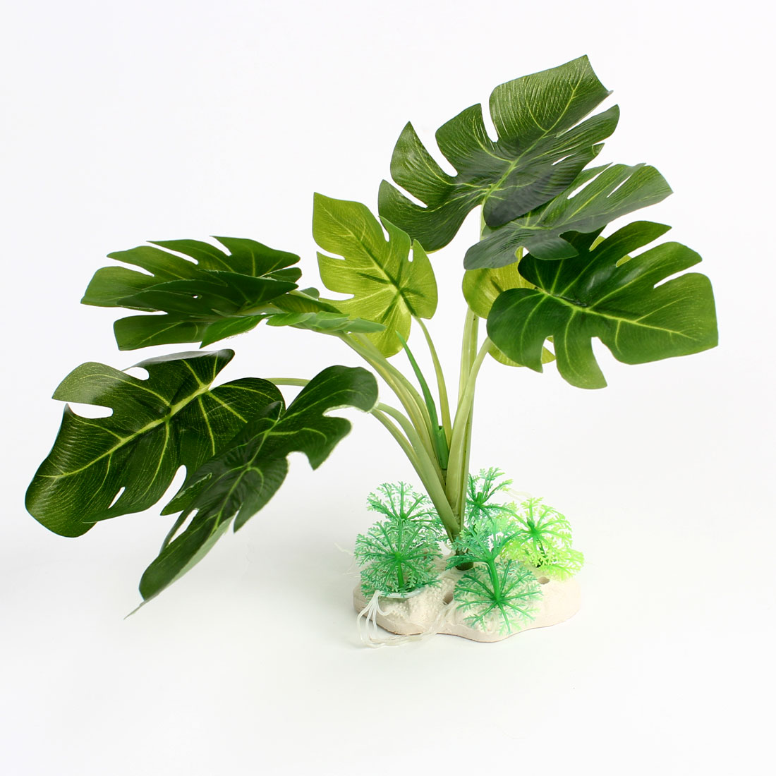 Aquarium Fishbowl Ornament Green Leaves Plastic Underwater Plant 25cm