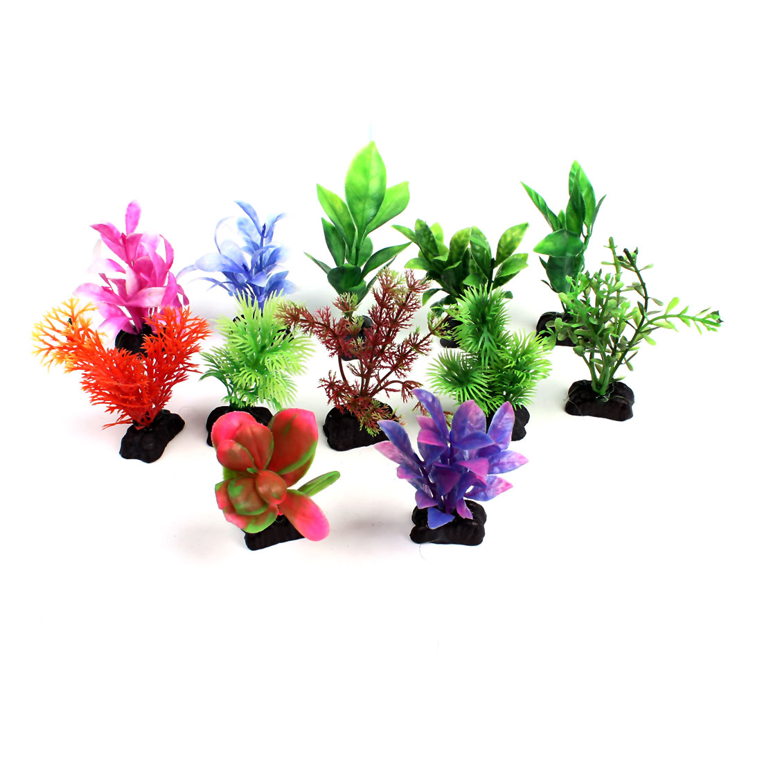 "12 Pcs Assorted Color Aquarium Aquascaping Plastic Plant Grass 3.9"" High"