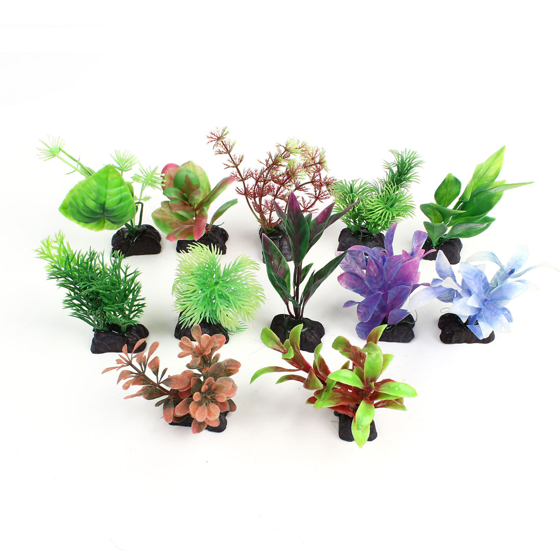 12Pcs Assorted Color Emulational Plant Grass Fish Tank Decor 11cm High
