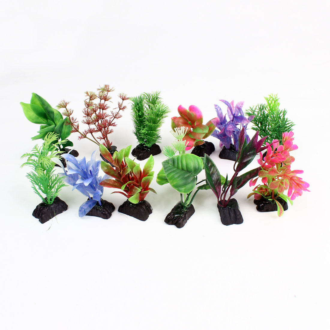 12 Pcs Assorted Color Aquarium Fish Tank Plastic Plant Grass 3.9""
