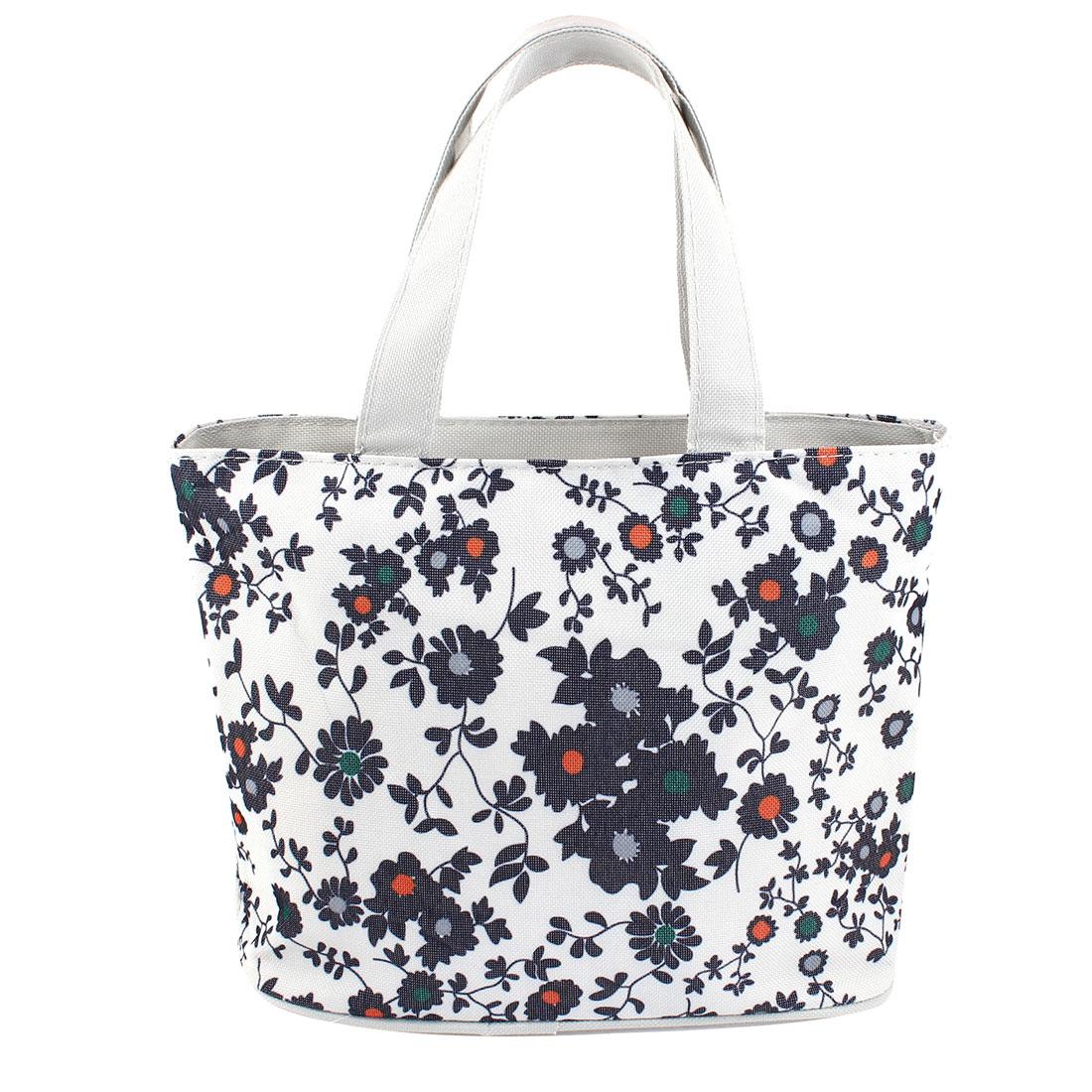 Zippered Folding Dark Blue Flower Prints Shopping Hand Bag Handbag Tote Khaki