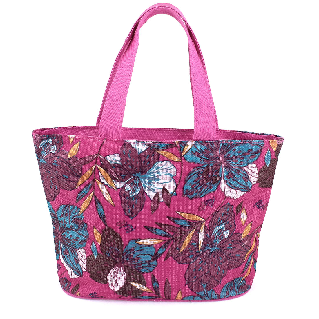 Colorful Flower Pattern Zip Up Foldable Recycle Shopping Handbag Tote Fuchsia