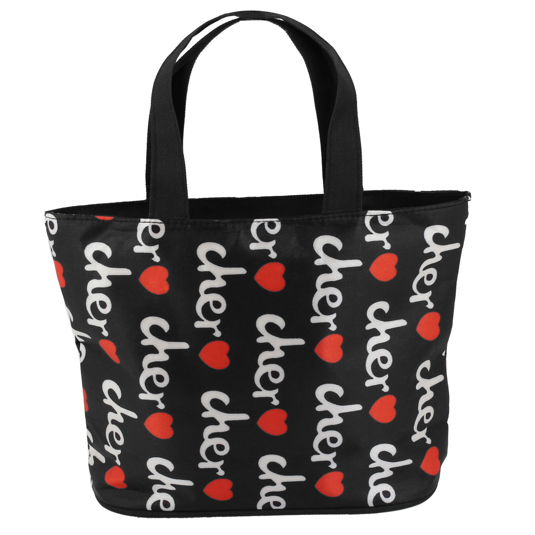 White Letters Red Heart Pattern Zip Up Foldable Recycle Shopping Handbag Tote