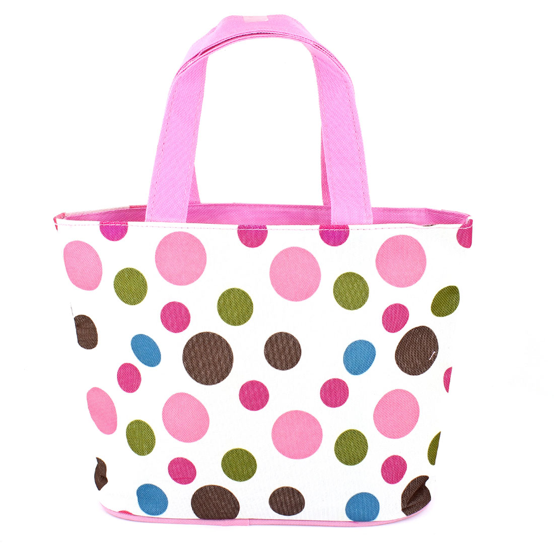Portable Zipper Colorful Dotted Printed Polyester Shopping Tote Bag Pink