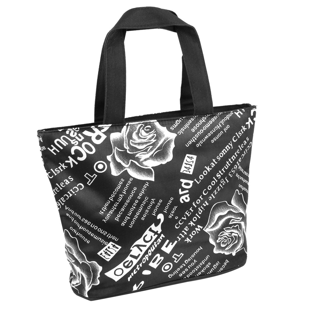 Household Portable Zippered White Floral Print Polyester Shopping Tote Bag Black