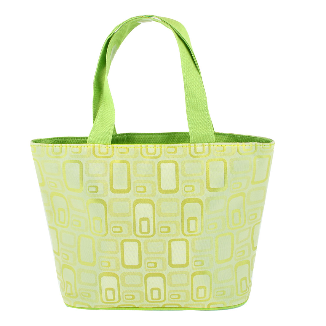 Household Square Pattern Zip Up Foldable Shopping Handbag Tote Light Green