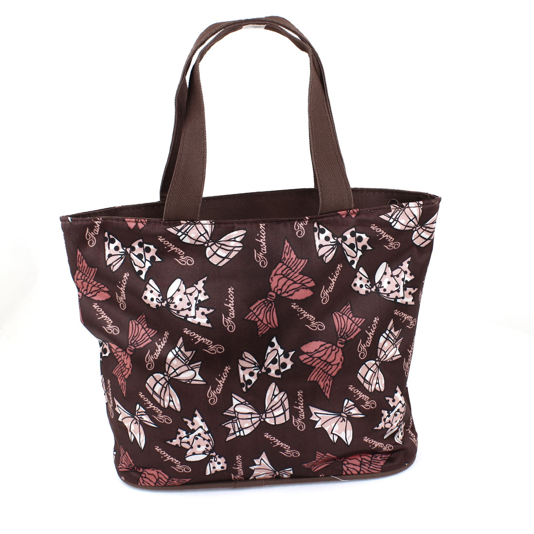 Zipper Closure Folding Bowknot Prints Shopping Hand Bag Handbag Tote Brown