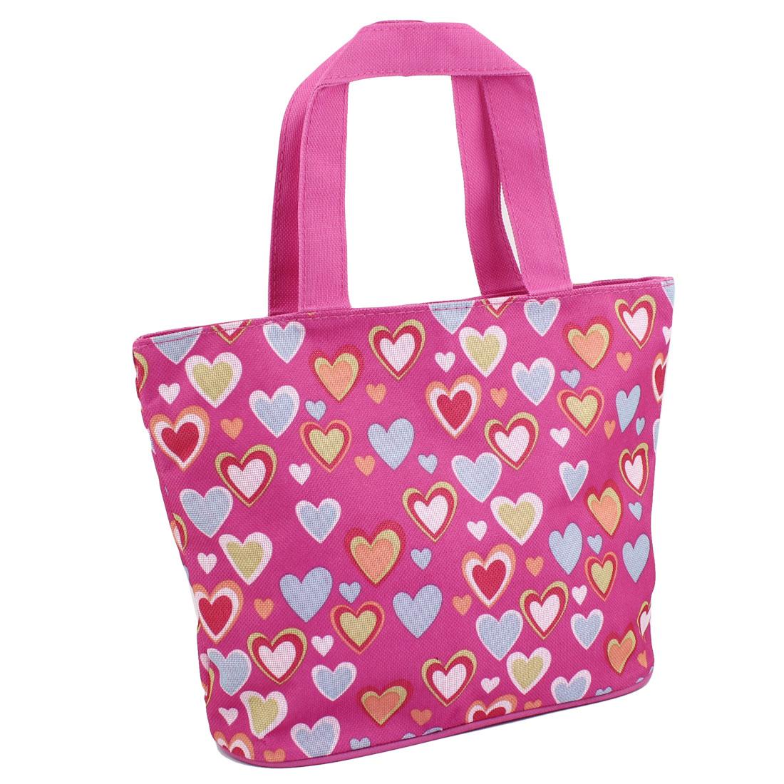 Household Heart Pattern Zip Up Foldable Shopping Handbag Hand Bag Tote Fuchsia