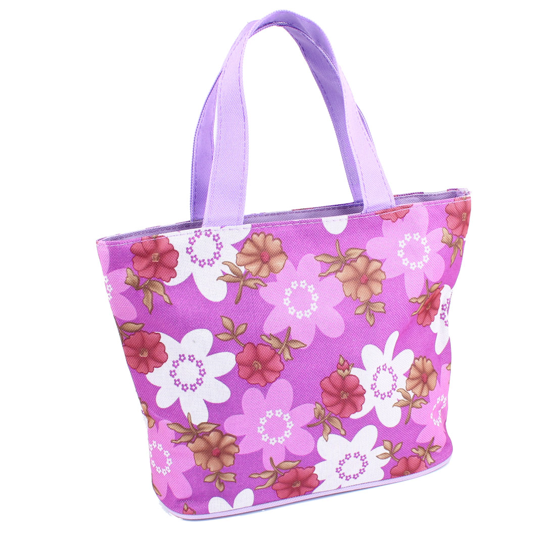 Colorful Flower Pattern Zip Up Foldable Shopping Handbag Tote Light Purple