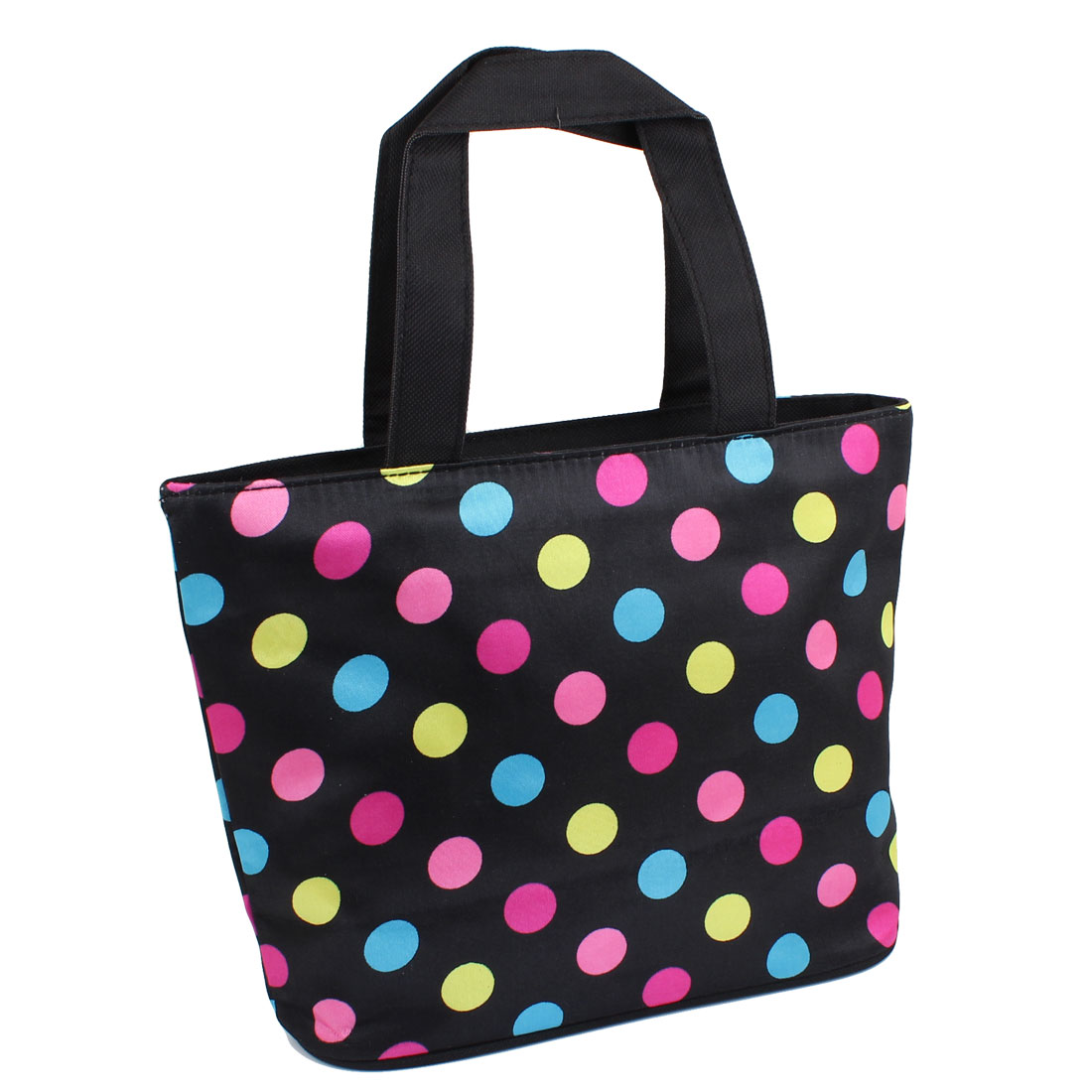 Zipper Closure Assorted Colors Dots Print Shopping Hand Bag Handbag Tote Black