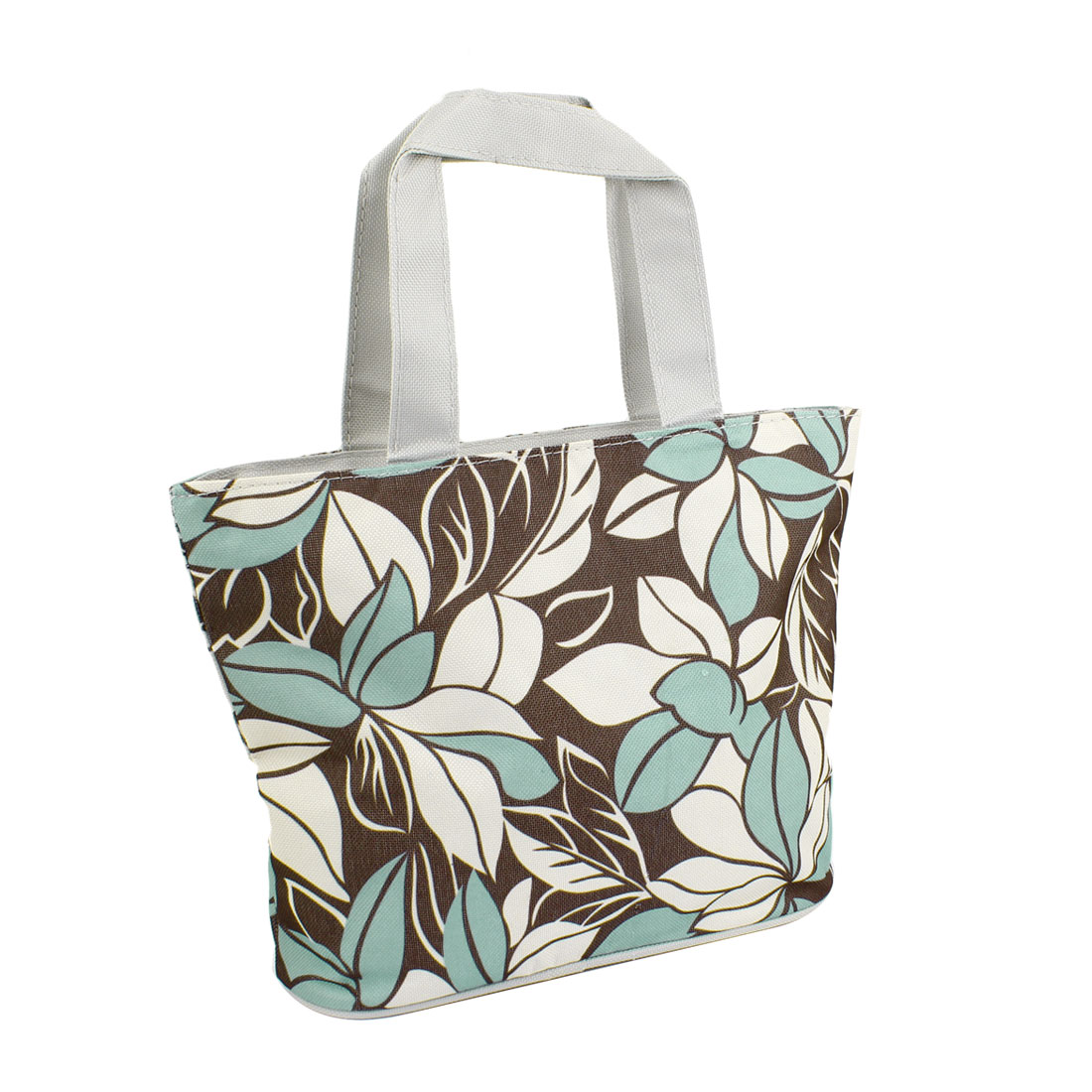 Light Blue Flower Pattern Zip Up Foldable Recycle Shopping Handbag Tote Khaki