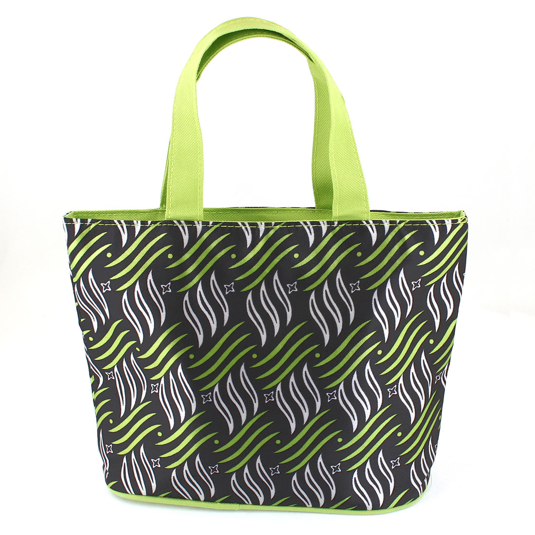 White Green Black Stripes Pattern Foldable Recycle Shopping Handbag Tote