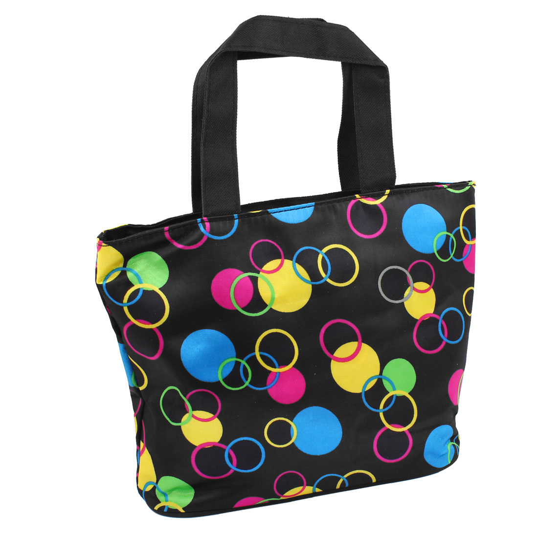 Multicolored Circle Dotted Pattern Zip Up Foldable Shopping Handbag Tote Black