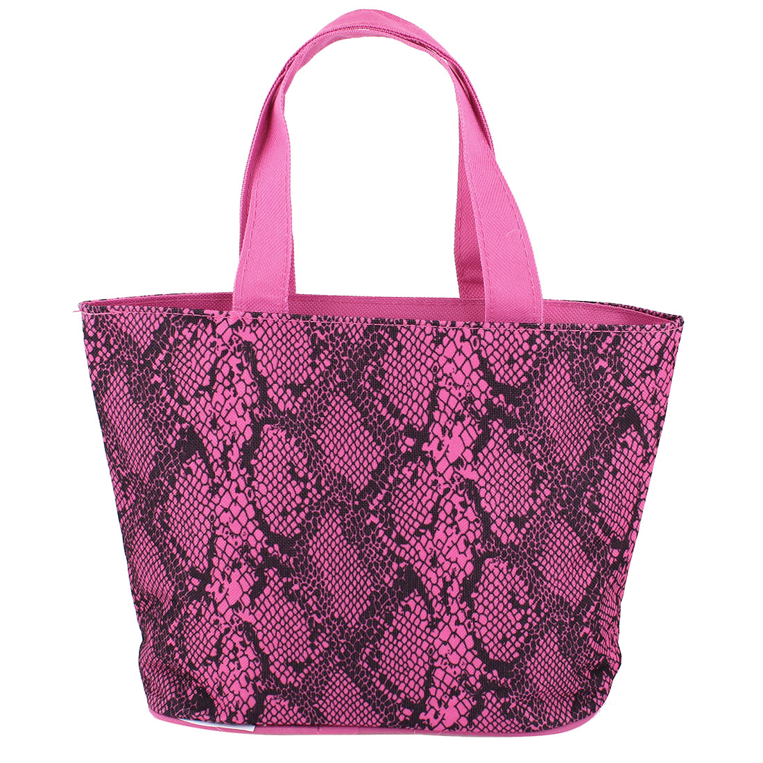 Portable Zipper Fuchsia Black Snake Printed Nylon Shopping Tote Handbag Bag
