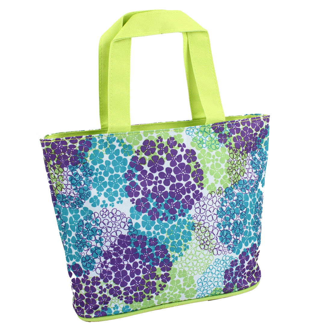 Zippered Folding Flower Prints Shopping Hand Bag Handbag Tote Yellow Green