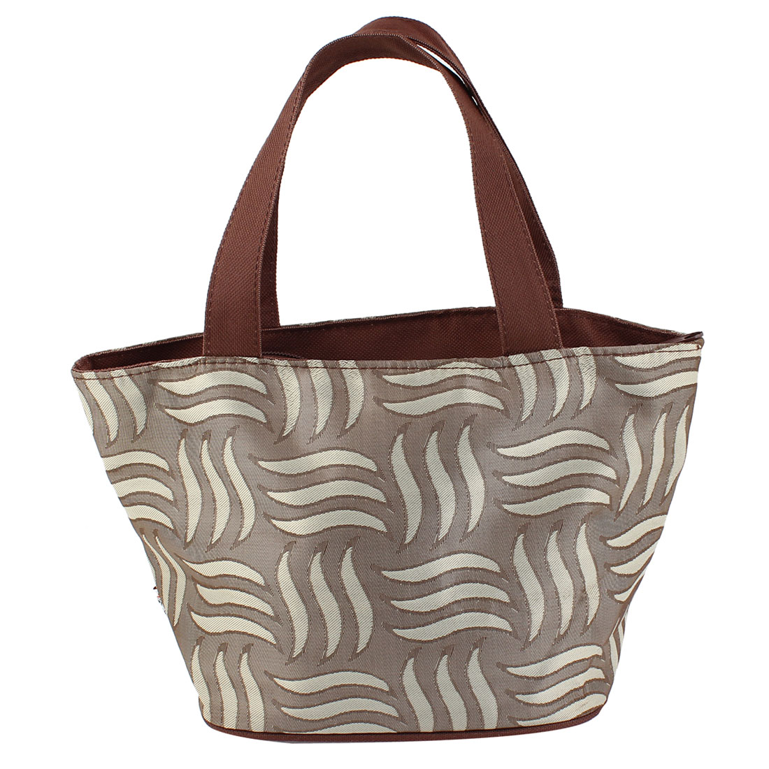 Zippered Folding Stripes Print Shopping Hand Bag Handbag Tote Light Brown