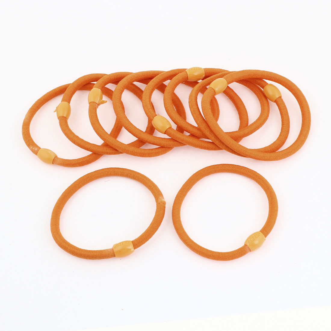 10 Pcs Orange Elastic Rubber Hair Bands Ponytail Holders for Ladies