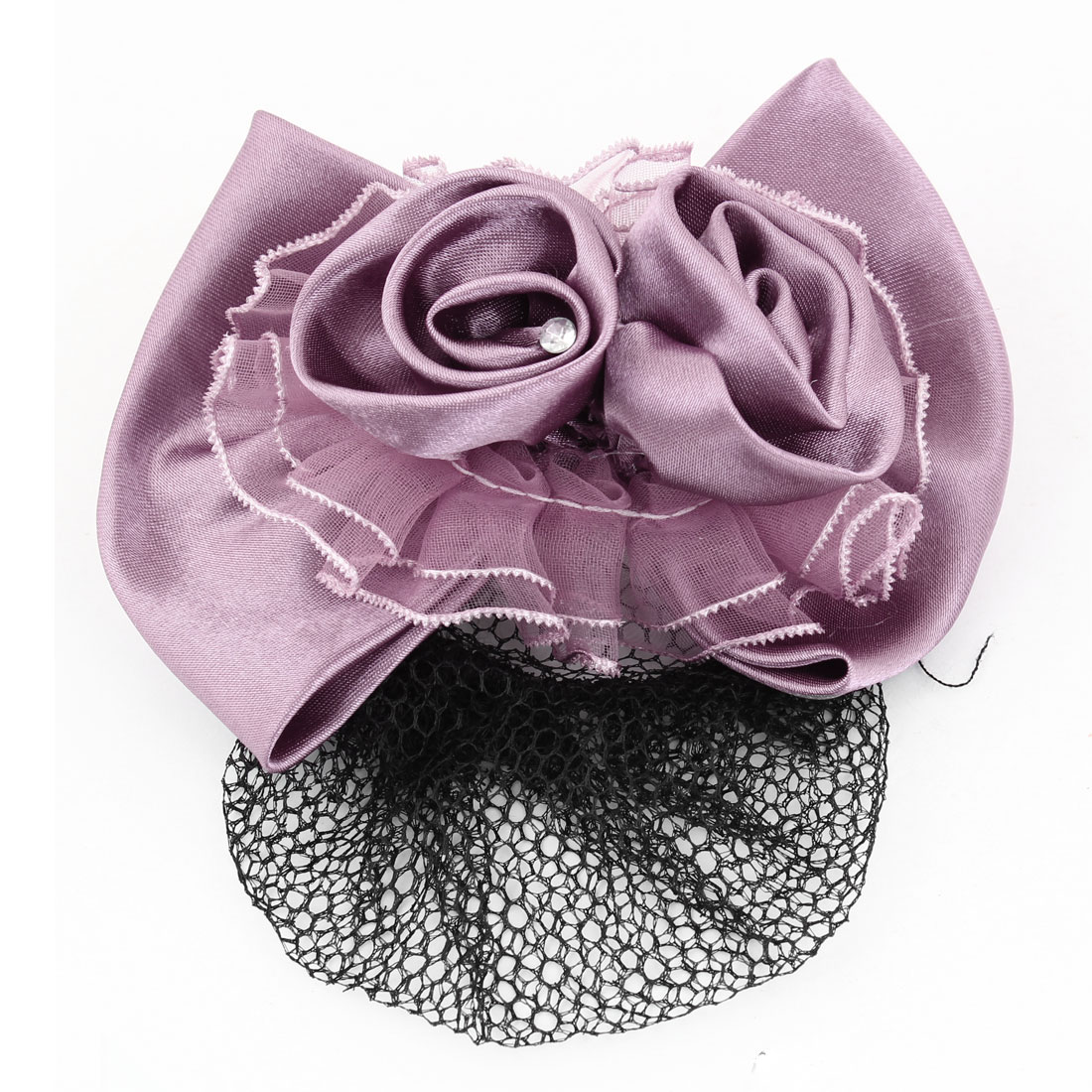 Women Snood Net Flower Barrette Bowknot Style Hair Clip Light Purple