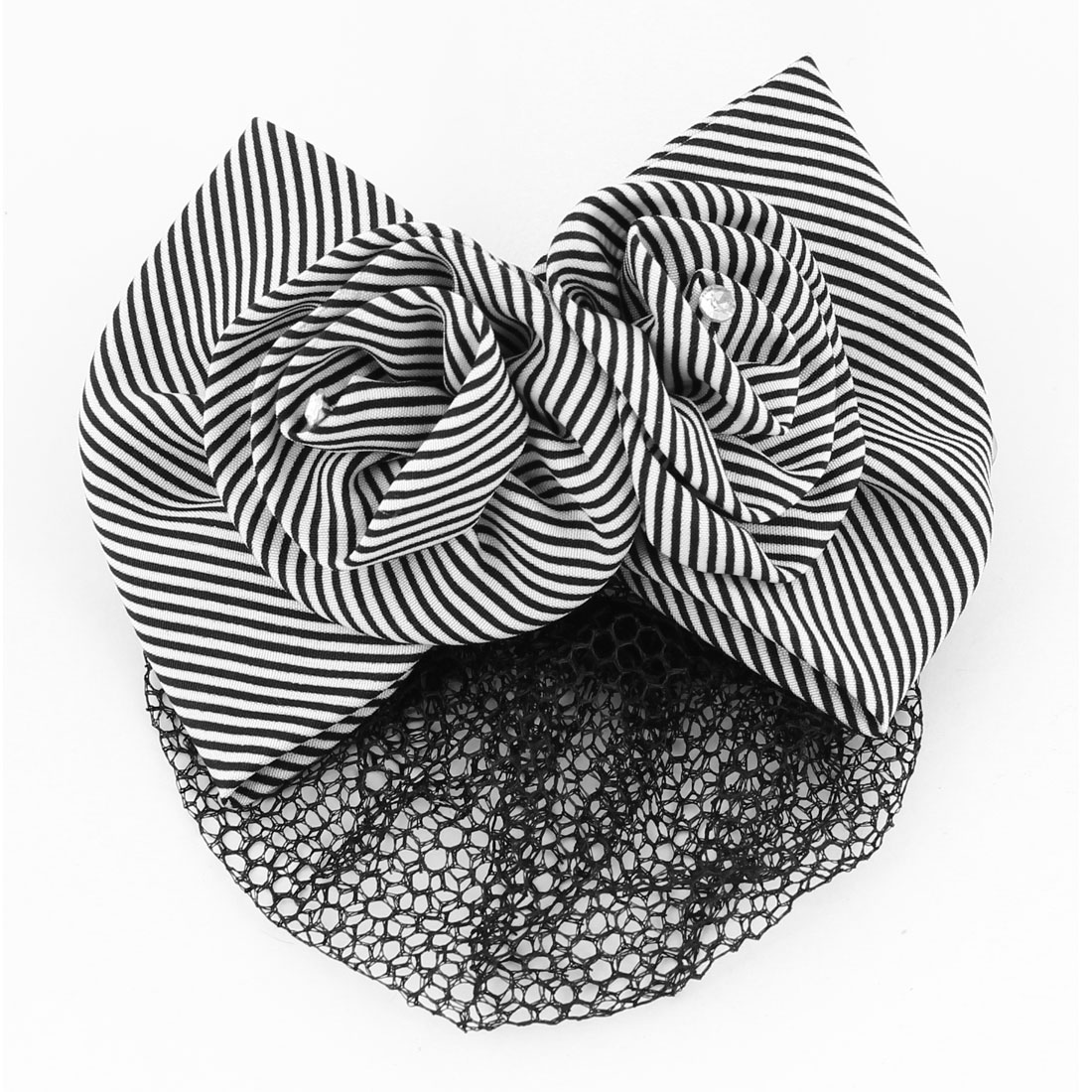 Black White Hairnet Snood Hair Clip Bow Flower Barrette for Ladies