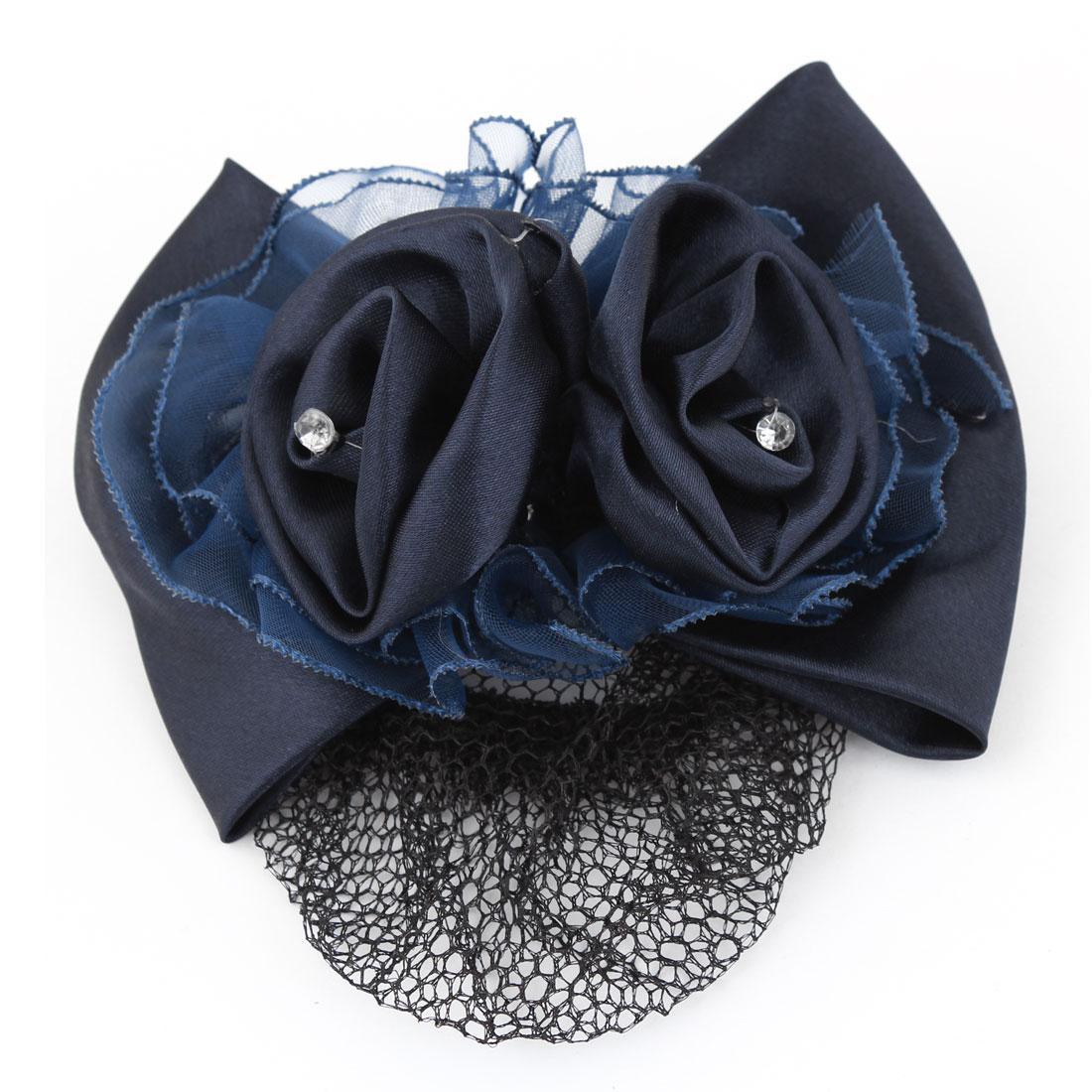 Woman Dark Blue Bowknot Flower Design Barrette Snood Net Clip