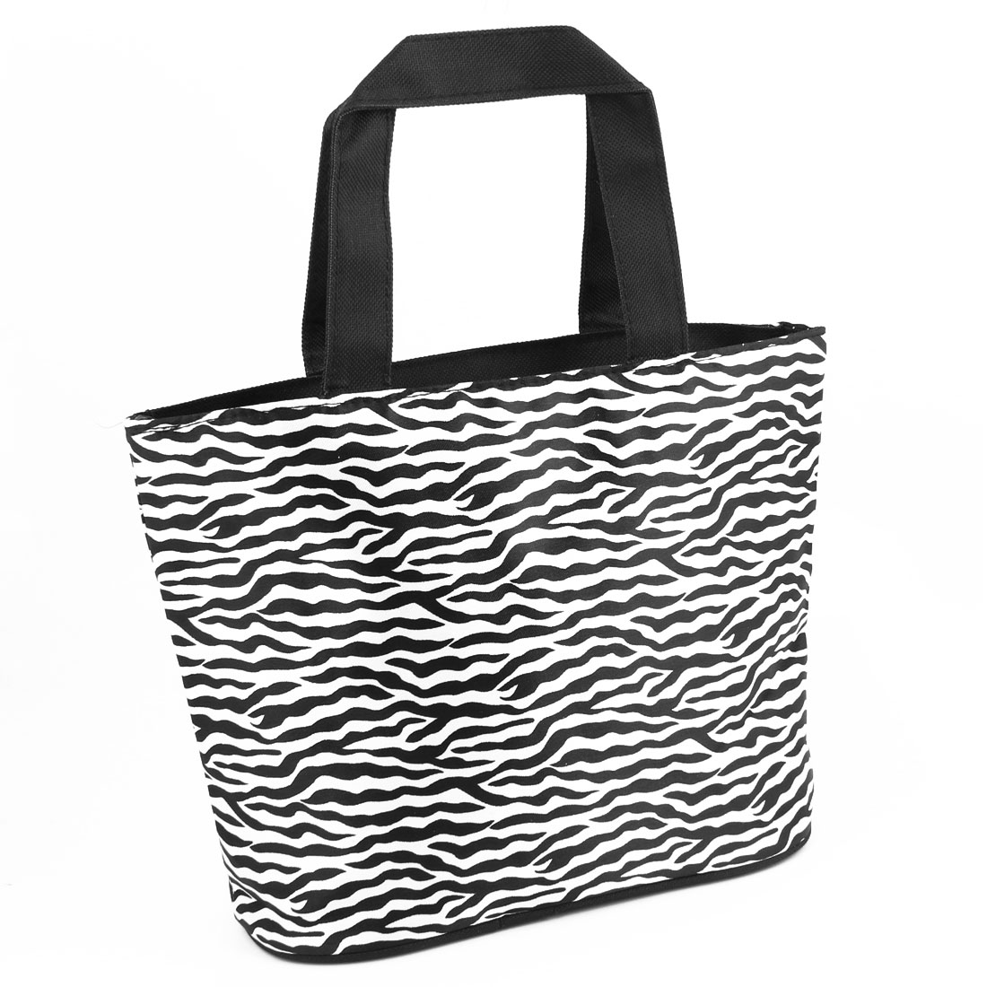 Zipper Closure Folding Zebra Stripes Shopping Hand Bag Handbag Tote Black White