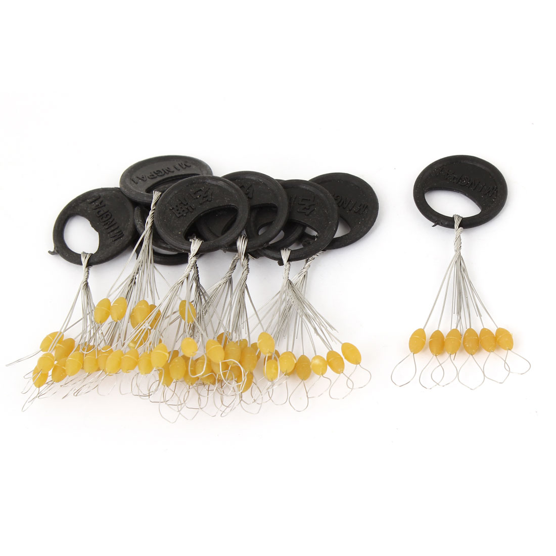 10 Pcs Size M 6 in 1 Round Shape Black Plastic Stopper Bead Fishing Bobber
