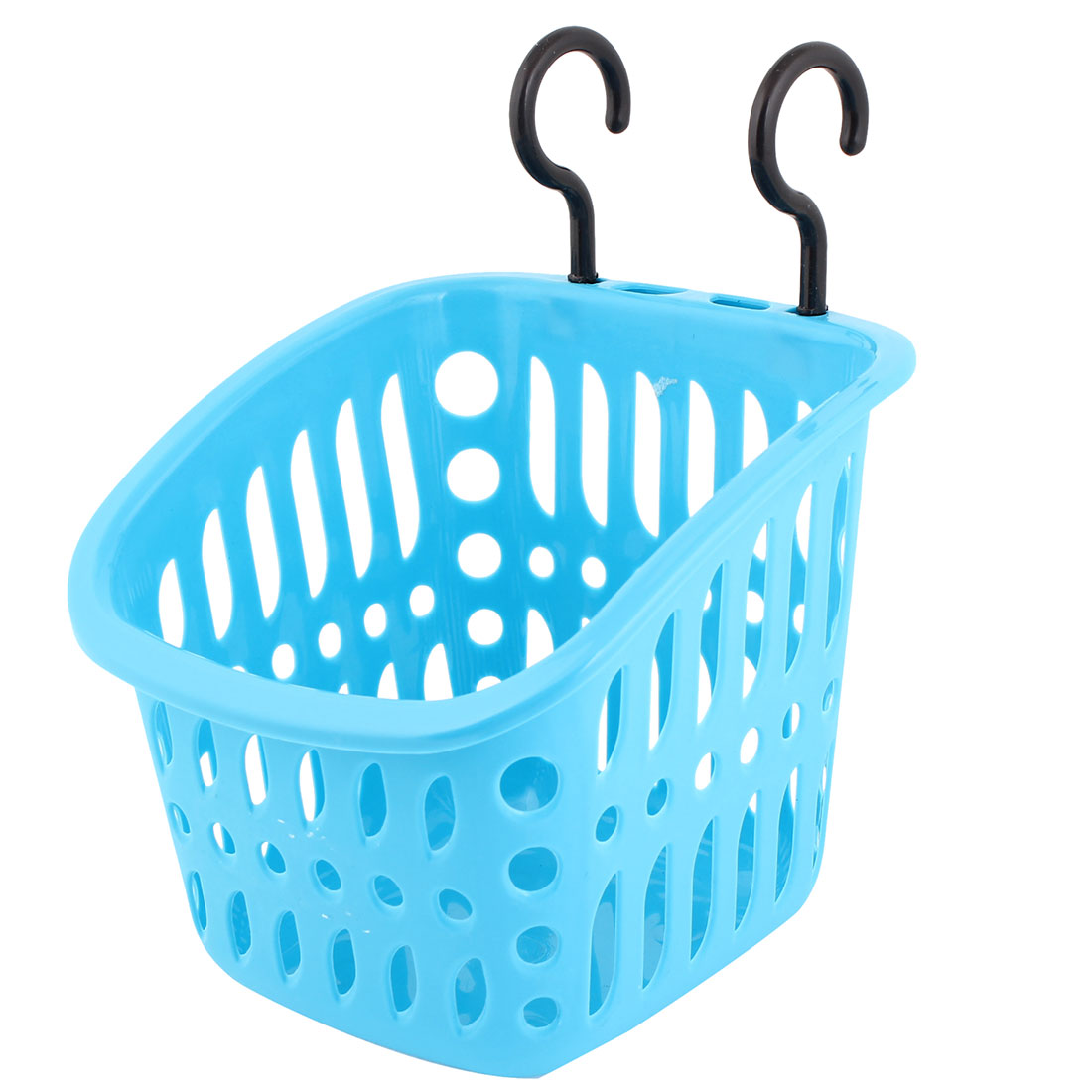 Kitchenware Bathroom Blue Plastic Basket Holder w Hooks