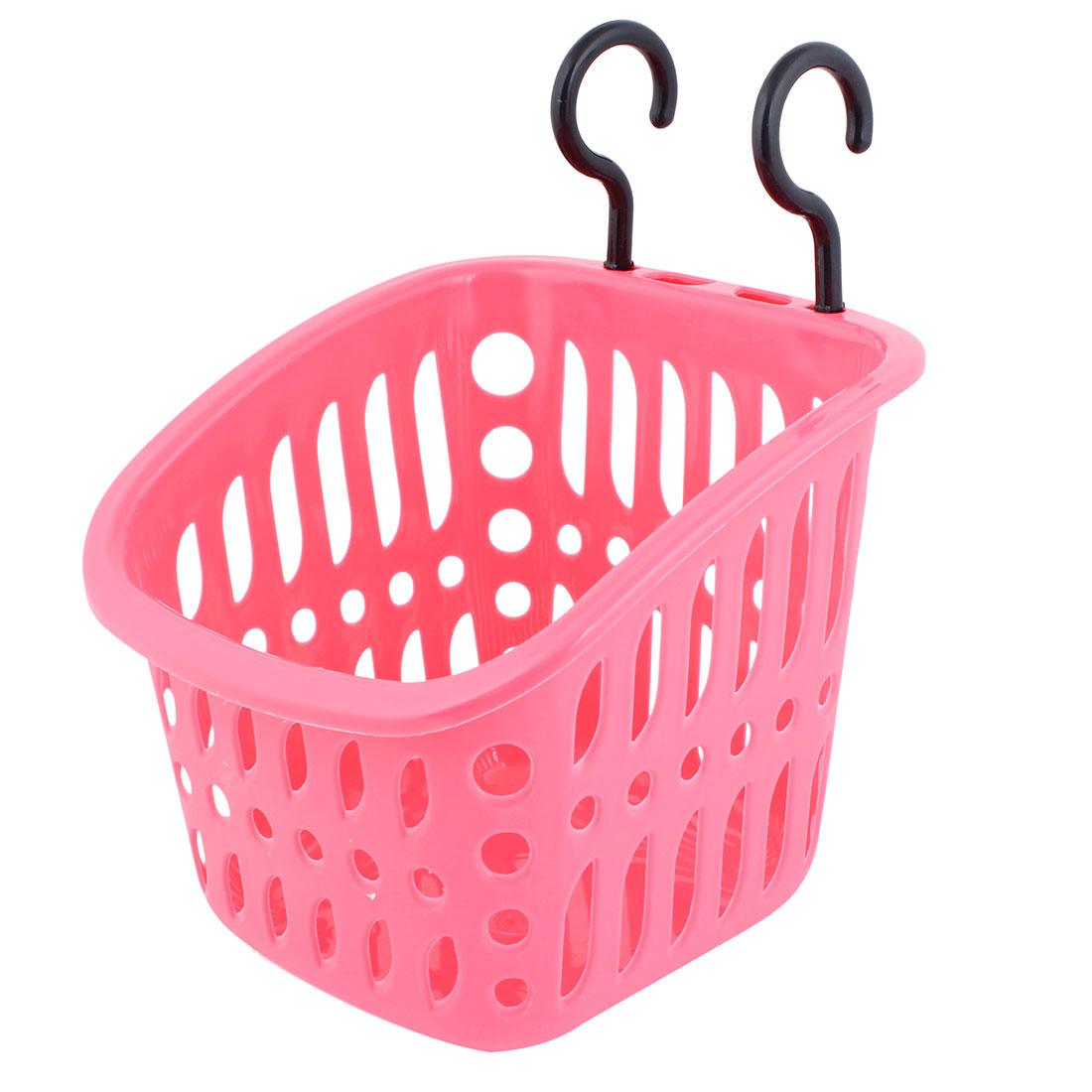 Fuchsia Plastic Hollow Household Storage Basket + Hooks