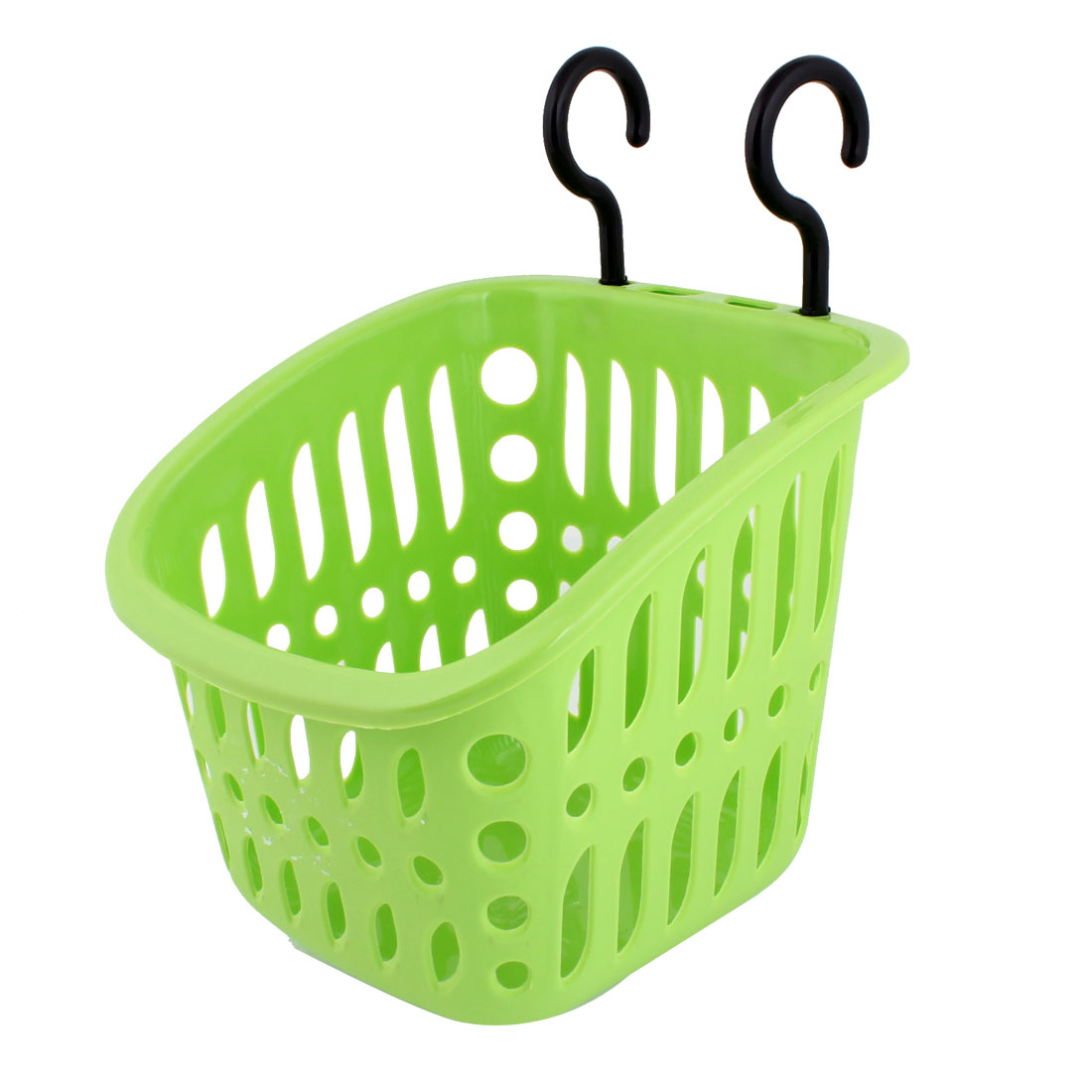 Kitchen Green Plastic Storing Grid Basket Holder w Hooks