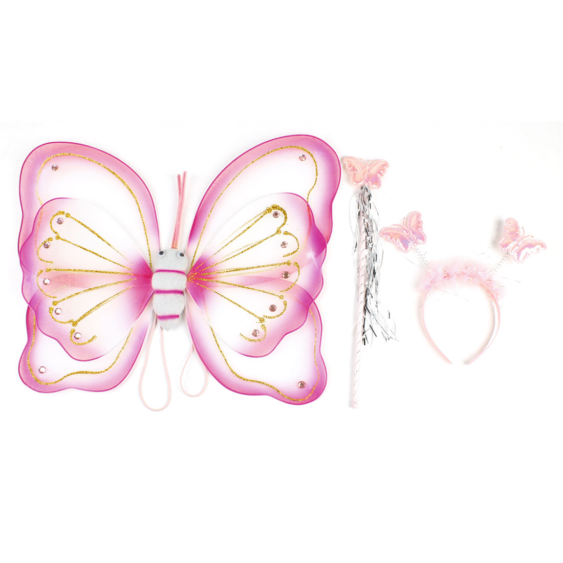 Hot Pink Dressing up Butterfly Wing + Stick + Hair Bow 3 in 1