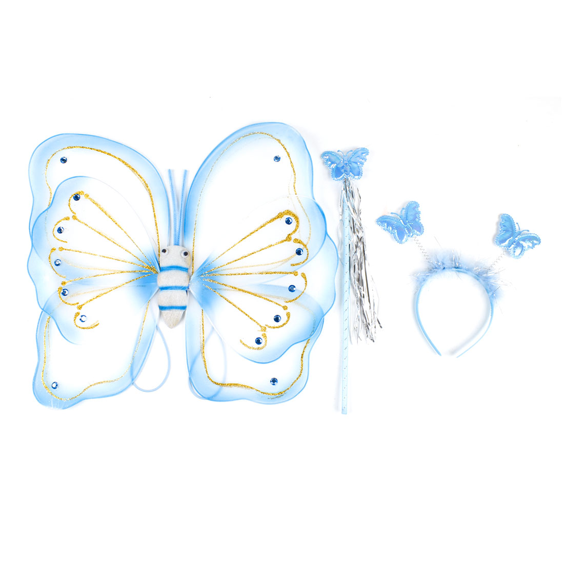 3 in 1 Dress up Costume Glittery Decor Butterfly Wing Stick Hair Bow Blue