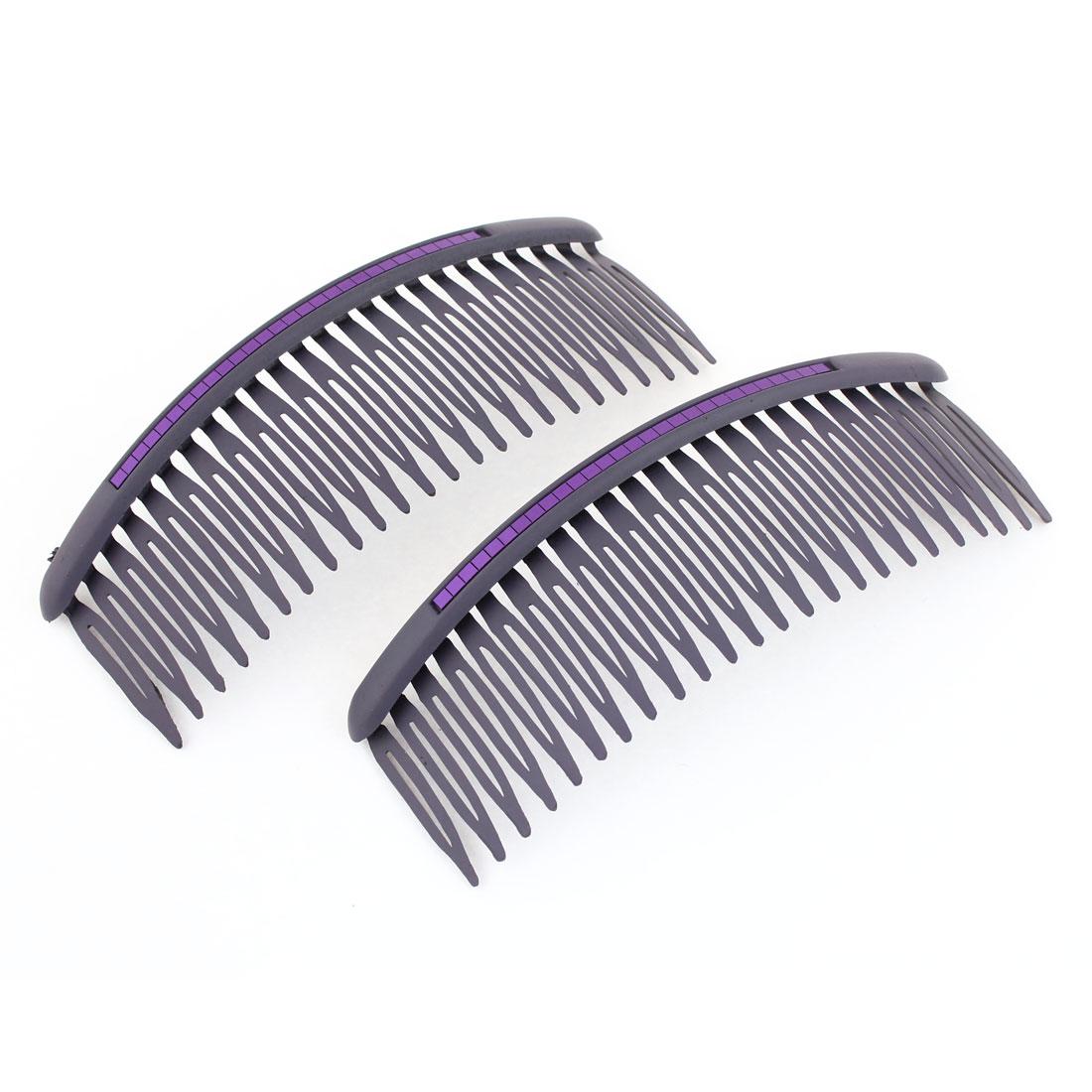 2 Pcs Purple Paillette Decor 24 Teeth Comb Hair Pin Clip for Women