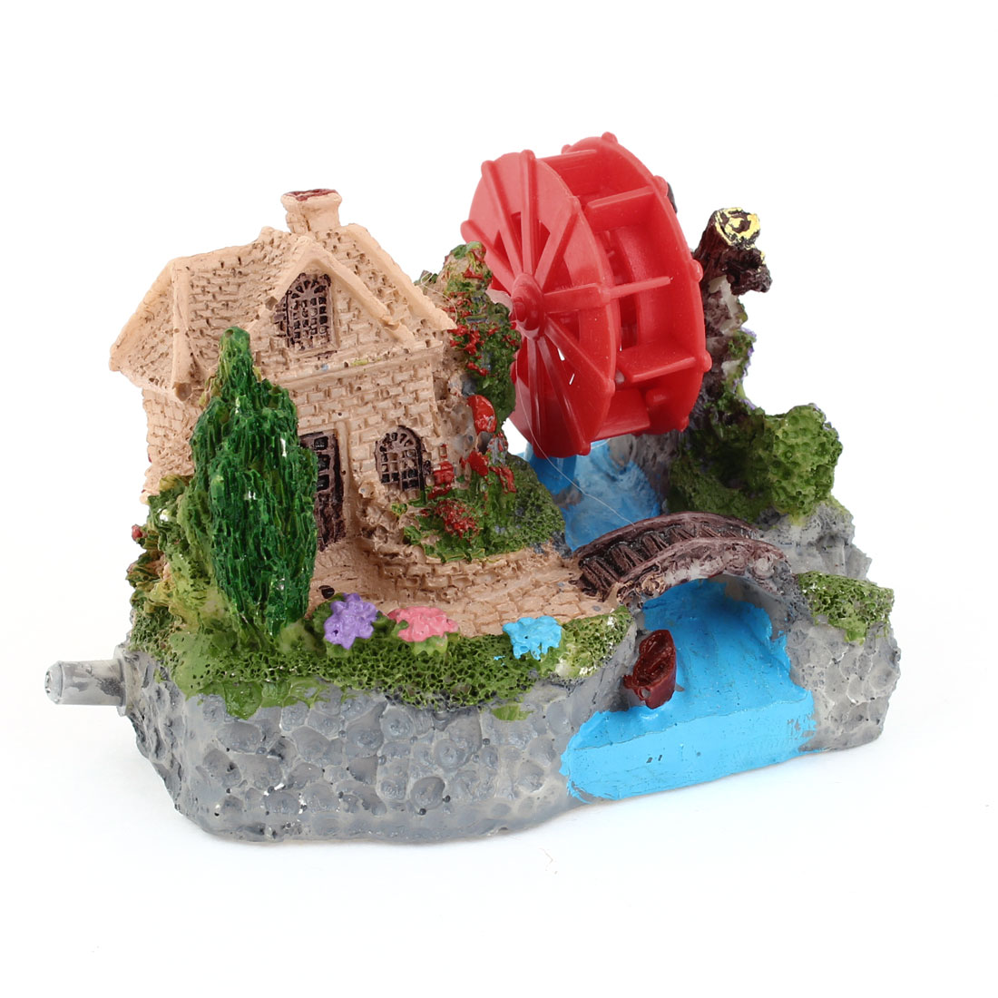 "Fish Tank Landscaping House Windmill Detailing 2.6"" Height Underwater Ornament"