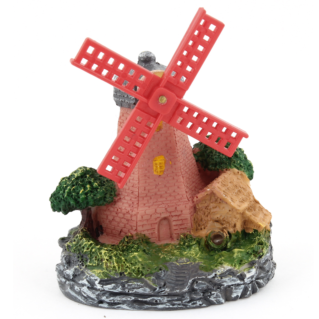 "Artificial Plastic Windmill Resin House Tree Landscaping Decoration 3.8"" High"