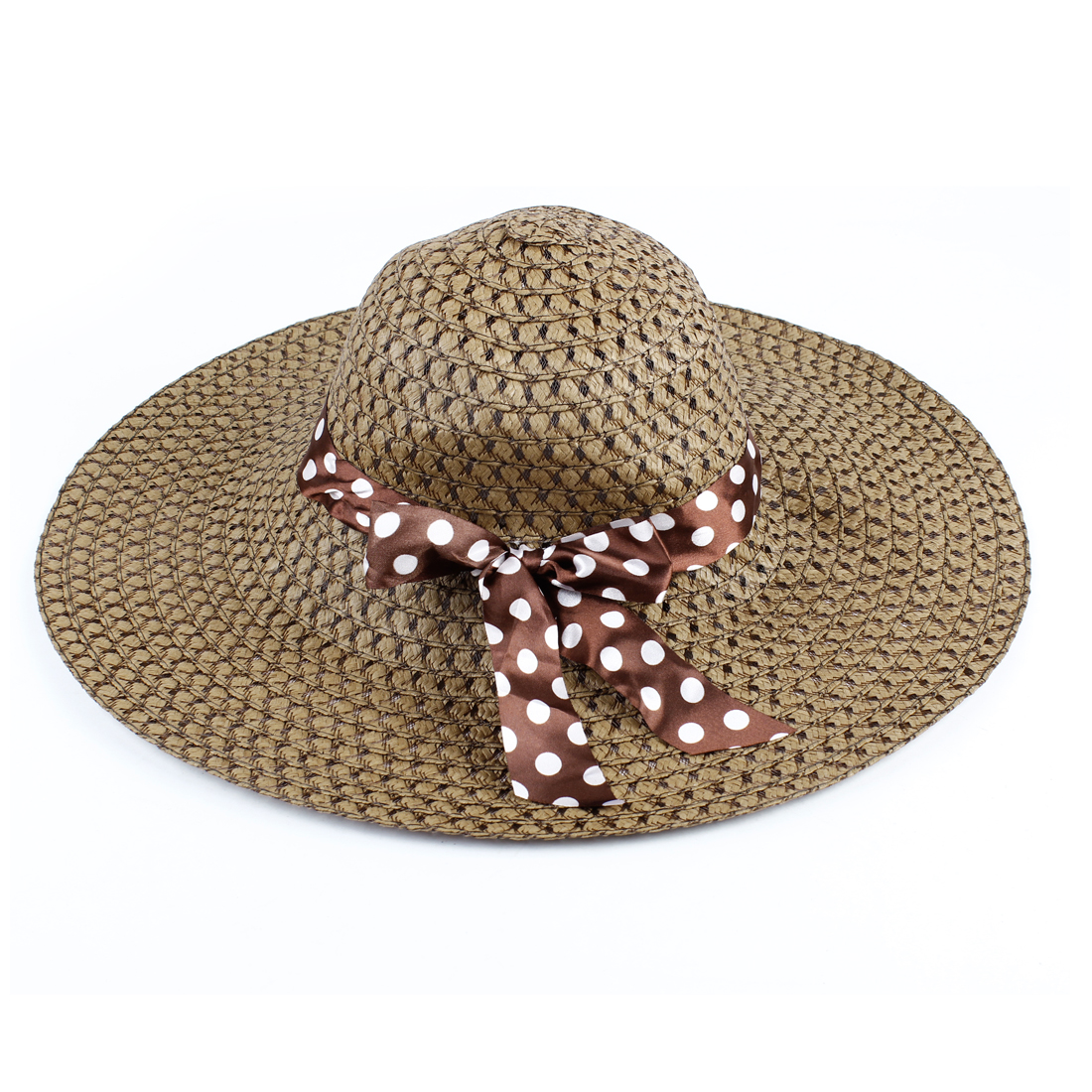 Brown Bow Tie Decor Hollow Out Straw Wide Braided Hat for Ladies