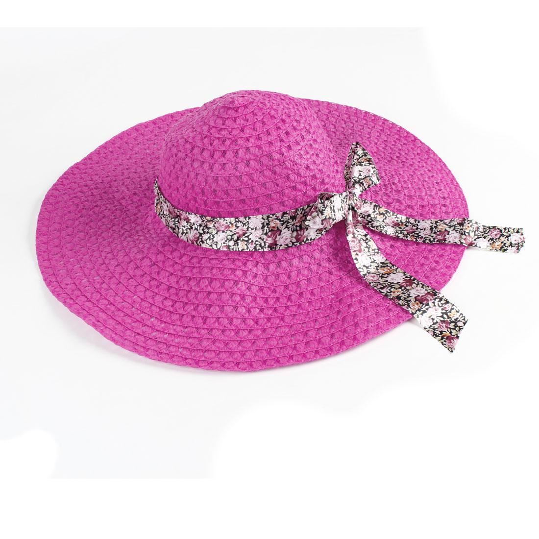 woman White Elastic Neck Strap Bowknot Detailing Beach Straw Hat