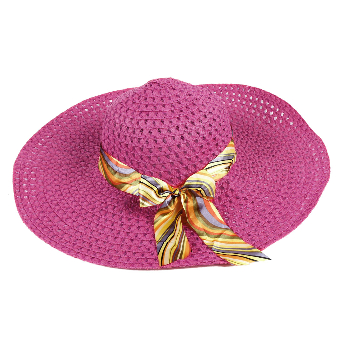 Ladies Fuchsia Elastic Neck Strap Bowknot Detail Beach Straw Hat