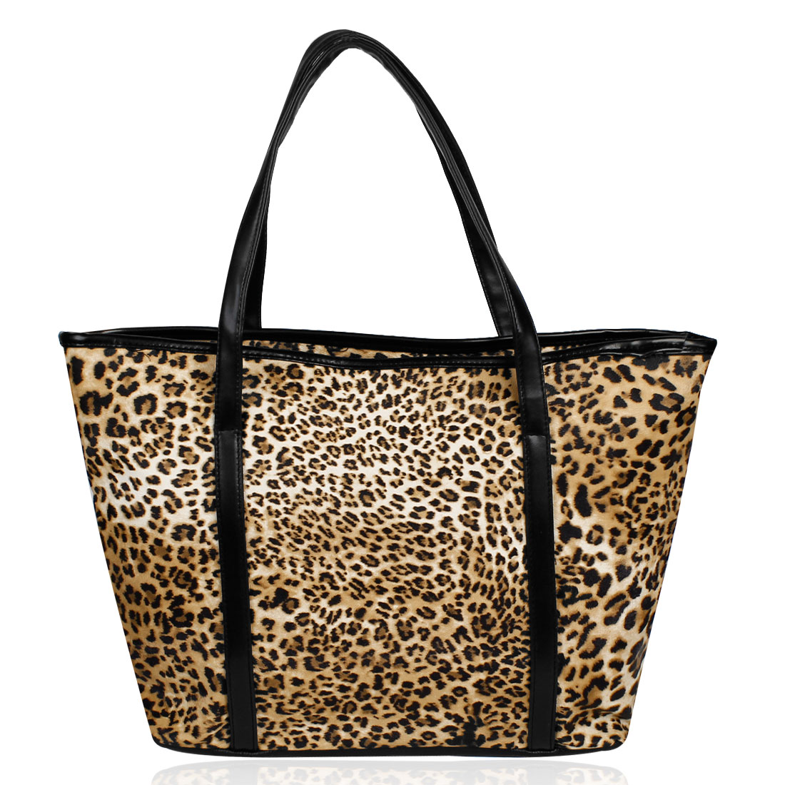 Black Brown Leopard Pattern Zipper Closure Shopping Handbag for Ladies