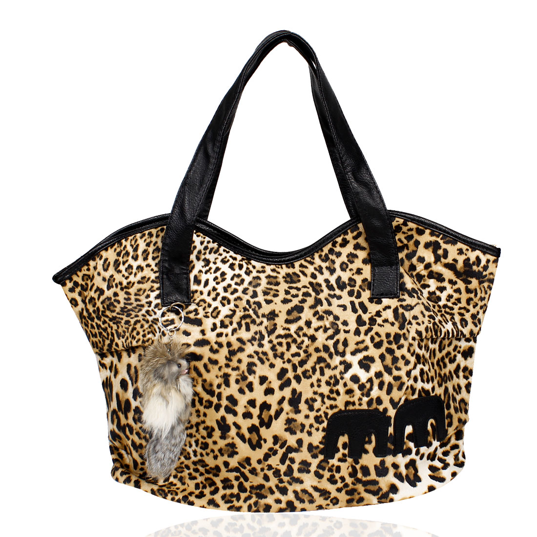 Leopard Pattern Fox Decor Zipper Closure Handbag Tote Bag Black Brown for Lady