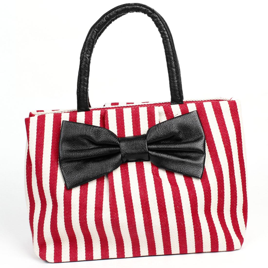 Red Beige Strip Print Zipper Closure Bowknot Decor Shopping Handbag for Lady