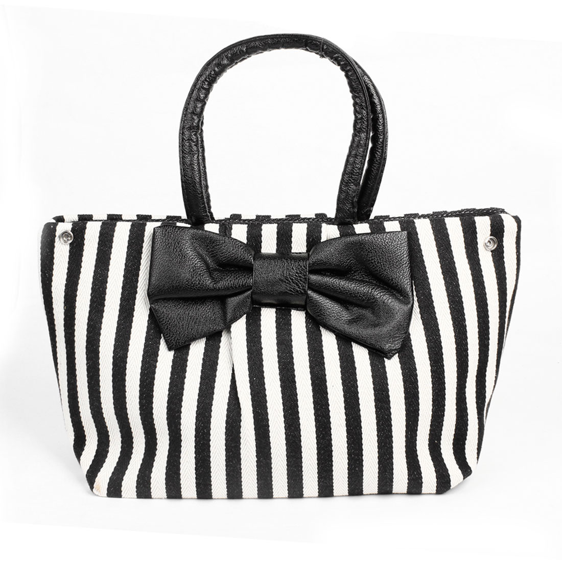 Women Black White Strips Printed Nylon Lining Zipper Up Handbag Bag