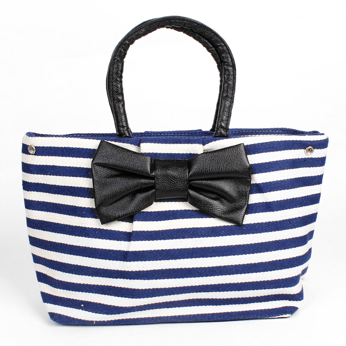 Lady Blue White Horizontal Strip Pattern Zipper Closure Bowknot Decor Handbag