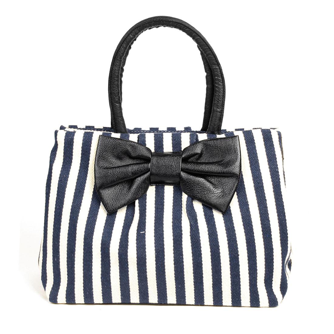 Strip Print Zipped Up Dark Brown Bowknot Decor Handbag Tote Bag for Ladies