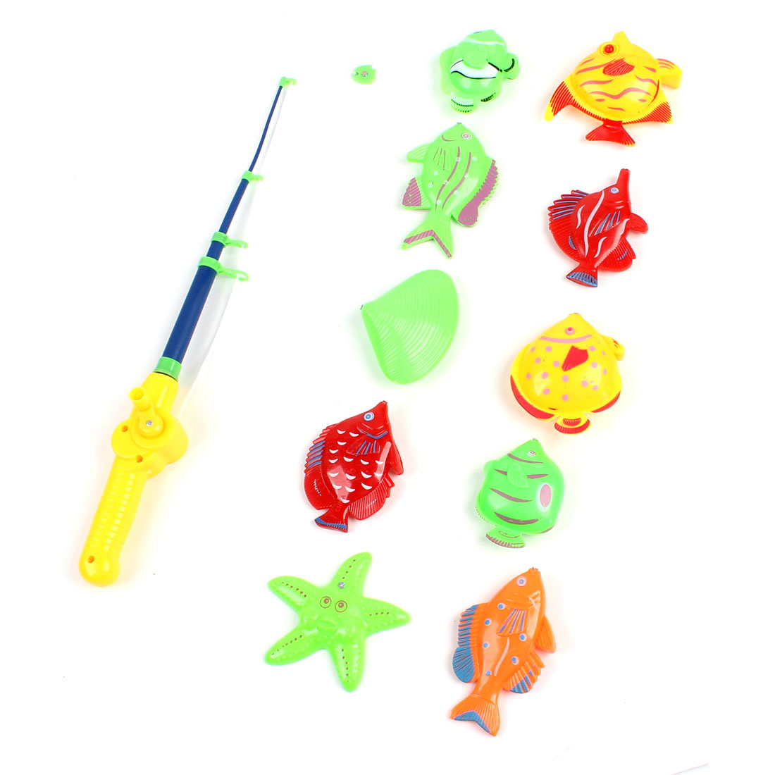 Children Kids 11 in 1 Colorful Plastic Fishing Rod Pole Fishes Toy Set